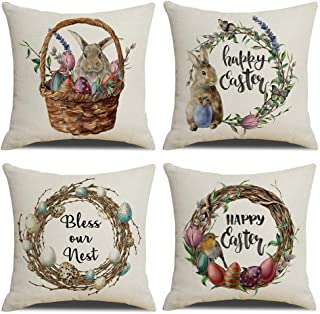 KACOPOL Easter Rabbit Pillow Covers Vintage Watercolor Easter Wreath with Eggs Spring Home Decorative Cotton Linen Throw Pillow Case Cushion Cover 18