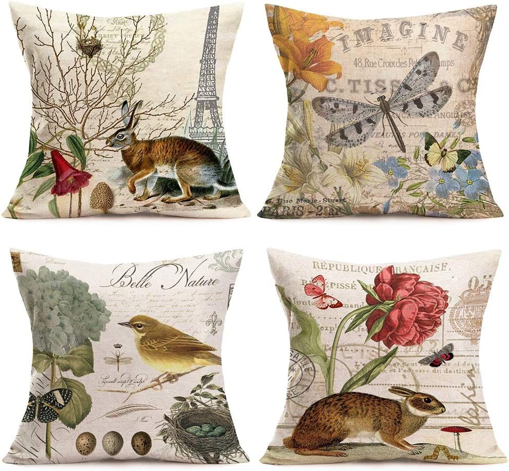 Sales for sale Hopyeer 4Pack Portland Mall Rustic Vintage Animals Pillow Throw Cotton Covers
