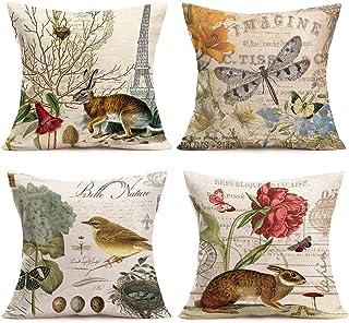 Hopyeer 4Pack Rustic Vintage Animals Throw Pillow Covers Cotton Linen Decorative Cute Rabbits Dragonflies Robin Birds Butt...