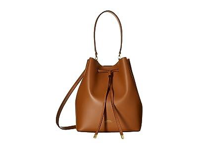 LAUREN Ralph Lauren Dryden Debby Drawstring Medium (Field Brown/Orange) Drawstring Handbags