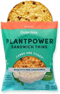 Outer Aisle Cauliflower Sandwich Thins - Low Carb, Gluten Free, Paleo Friendly, Keto … (Jalapeno Thins, Pack of 4)