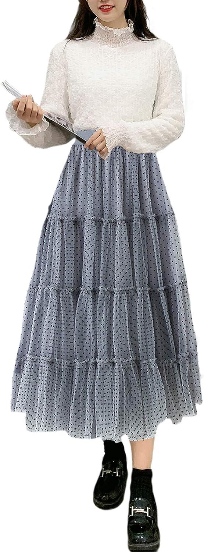 lookwoild Women Casual Midi Skirt High Waist Layered Polka Dot Mesh Skirt Pleated A-Line Swing Skirt Y2K Clubwear (Blue Grey, One Size)