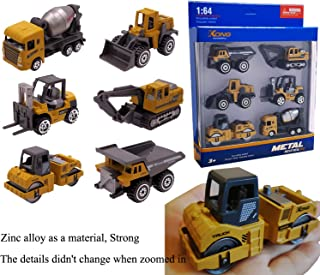 Chilly Construction Vehicles Alloy Engineering Playsets Trucks Toy Play Vehicles Set of 6 Excavator Bulldozer Dumper Forklift Cement Mixer Asphalt for Toddlers Kids Party Favors