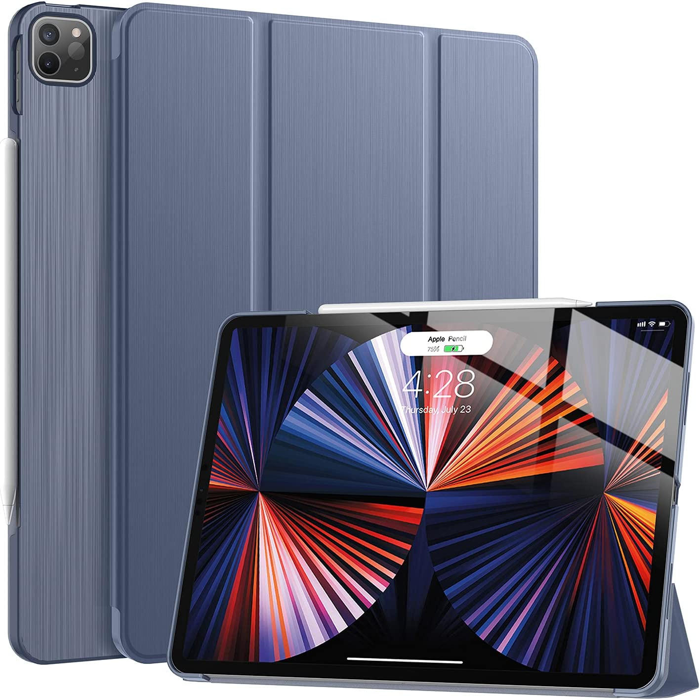 Soke New iPad Pro 12.9 Case 2021(5th Generation) - [Slim Trifold Stand + 2nd Gen Apple Pencil Charging + Smart Auto Wake/Sleep],Premium Protective Hard PC Back Cover for iPad Pro 12.9 inch(Lavender)