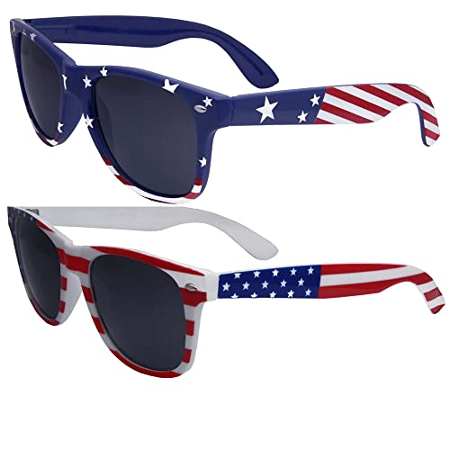 bd5785dd0816 2 Pairs Bulk American Sunglasses USA Flag Classic Patriot