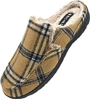 ONCAI Chaussons Hommes-Hiver Extérieur Plaid Pantoufles Homme-Antidérapant Toison de Peluche Doublure Intérieur Tweed Chau...