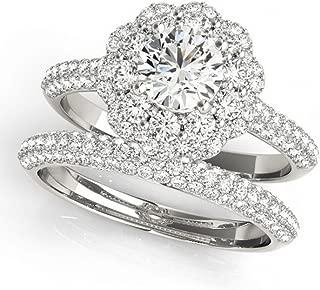 Allurez Diamond Floral Style Double Halo Bridal Set Palladium (1.91ct)
