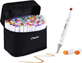 120 Colors Alcohol Color Markers of Ohuhu, Double Tipped Marker Set for Kids Adults Coloring, Alcohol-based Sketch Sketching Markers, Bonus 1 Colorless Marker Blender, Great Christmas Gift Idea