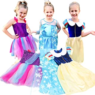 Princess Costume Dresses Girls 3 Pack Dress up Dresses Role Play Set for Little Girls Ages 3-6 Years
