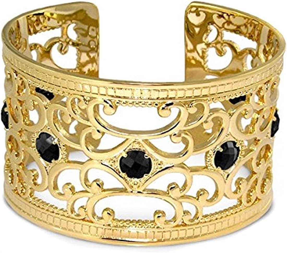 Lauren G Adams Gold Plated Medieval Design Cuff Bracelet With Faceted Cubic Zirconia