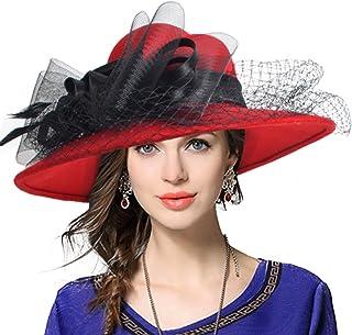 VECRY Women's Fascinator Wool Felt Hat Cocktail Party Wedding Fedora Hats