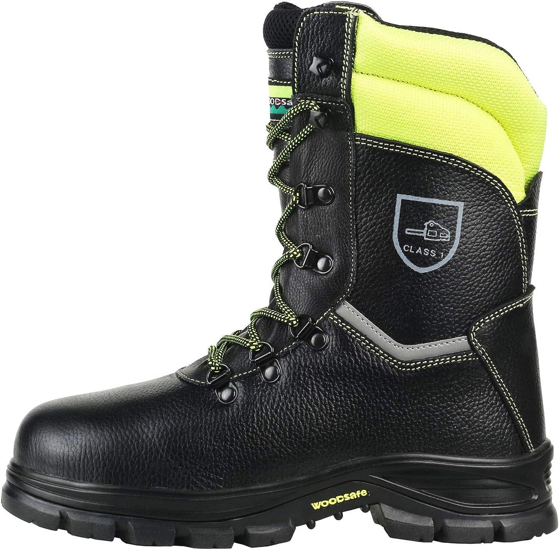 WOODSafe Herren Schnittschutzstiefel Klasse 1 S3 schwarz gelb - Forststiefel kwf-geprüft, Stahlkappe, durchtrittsicher, Leder, wasserabweisend, antishock