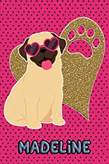 Pug Life Madeline: College Ruled Composition Book Diary Lined Journal Green