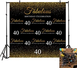 YEELE Golden Sparkling 40th Birthday Backdrop 6x6ft Forty Year Step and Repeat Banner Photography Background Lady Mother Woman Artistic Portrait Photo Booth Dessert Table Photoshoot Props