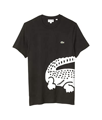 Lacoste Short Sleeve Jersey T-Shirt with A Big Lacoste Crocodile Pack (Black) Men