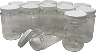 CSBD 16 Oz Clear Plastic Mason Jars With Ribbed Liner Screw On Lids, Wide Mouth, ECO, BPA Free, PET Plastic, Made In USA, Bulk Storage Containers, 12 Pack (16 Ounces)