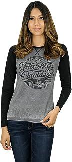 Harley-Davidson Womens Ink Stamp Raglan Grey Long Sleeve T-Shirt