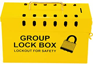 Lockout Safety Supply 7299Y-UN Group Lockout Tagout Box, Portable, Steel, Yellow