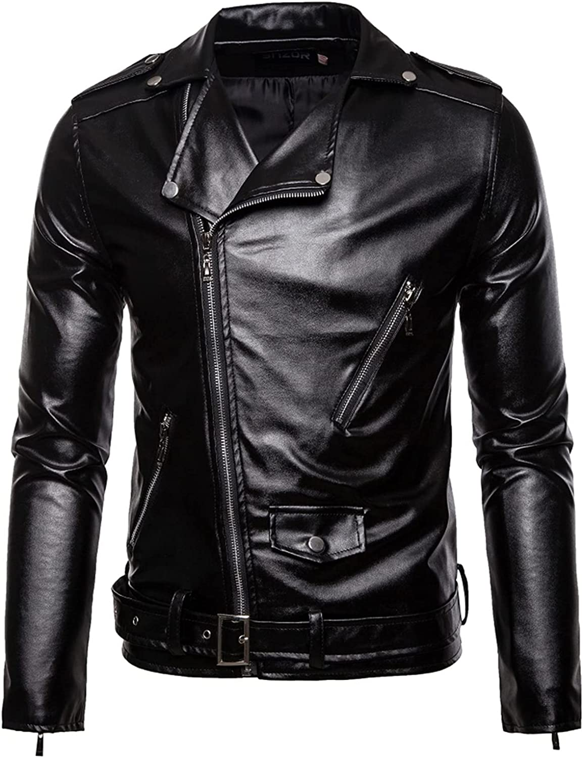 CNBPLS Men's Black Leather Motorcycle Biker Jackets,Slim-Fit Zip-Up Jacket with Lapel,for Leisure Outdoor Riding, Etc.