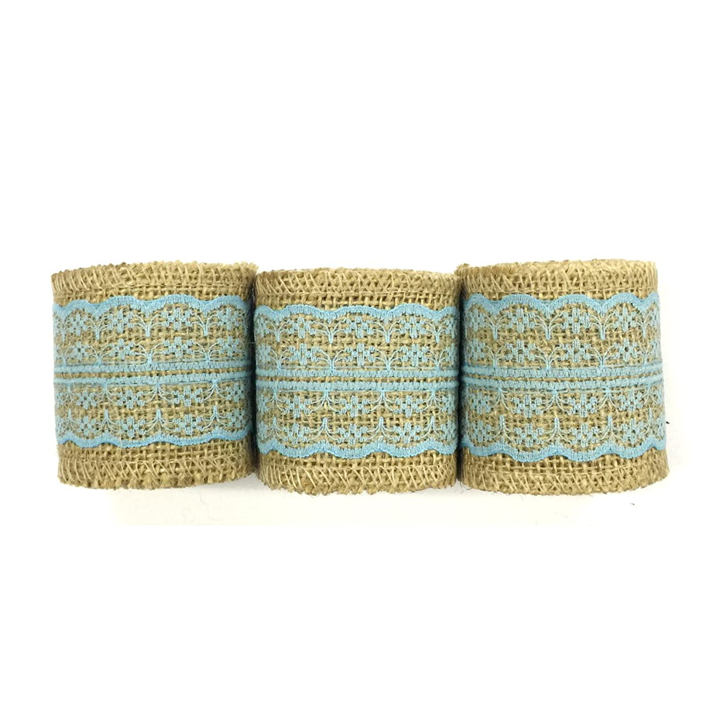 Wrapables Hessian Burlap with Lace Ribbon 2.5 Inch Width x 2 Yards Length (Set of 3), Sky Blue
