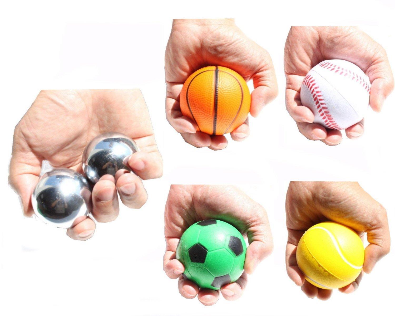 2 pesados hierro con timbre + 4 diseño de Squeeze pelotas ...