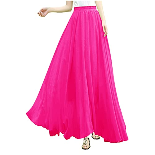 e117c30c691 v28 Women Full Ankle Length Elastic Pleated Retro Maxi Chiffon Long Skirt