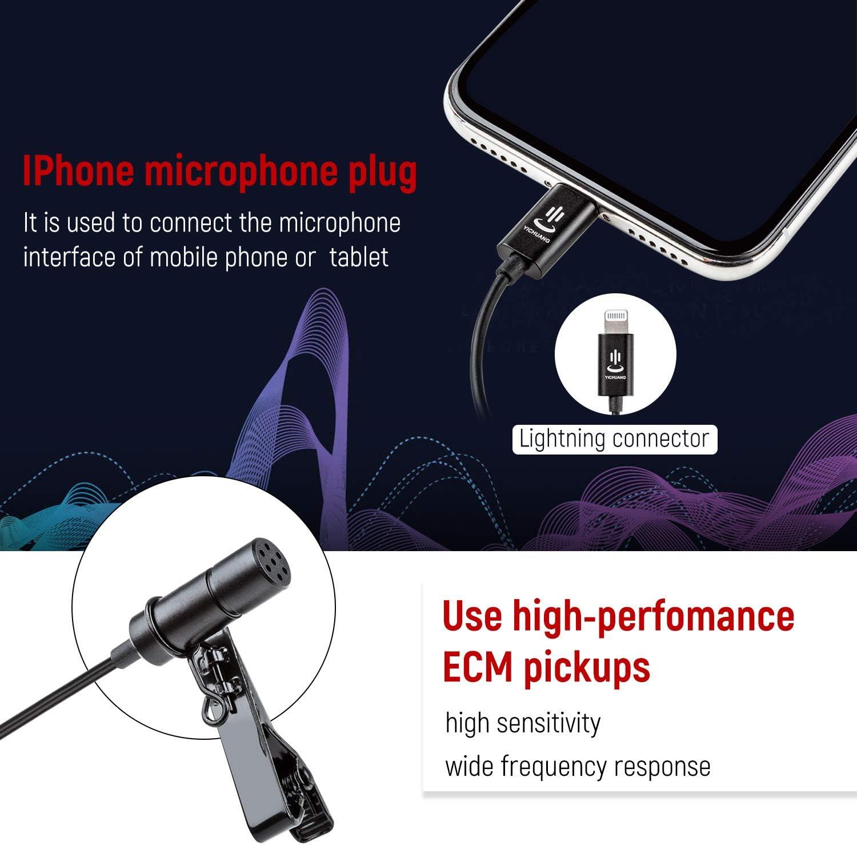 XR grabaci/ón de audio y v/ídeo para iPhone X 7Plus 6 iPad 7 altavoz omnidireccional Max 11 6Plus micr/ófono de solapa Kit de micr/ófono para iPhone Lavalier 8 8Plus XS Pro