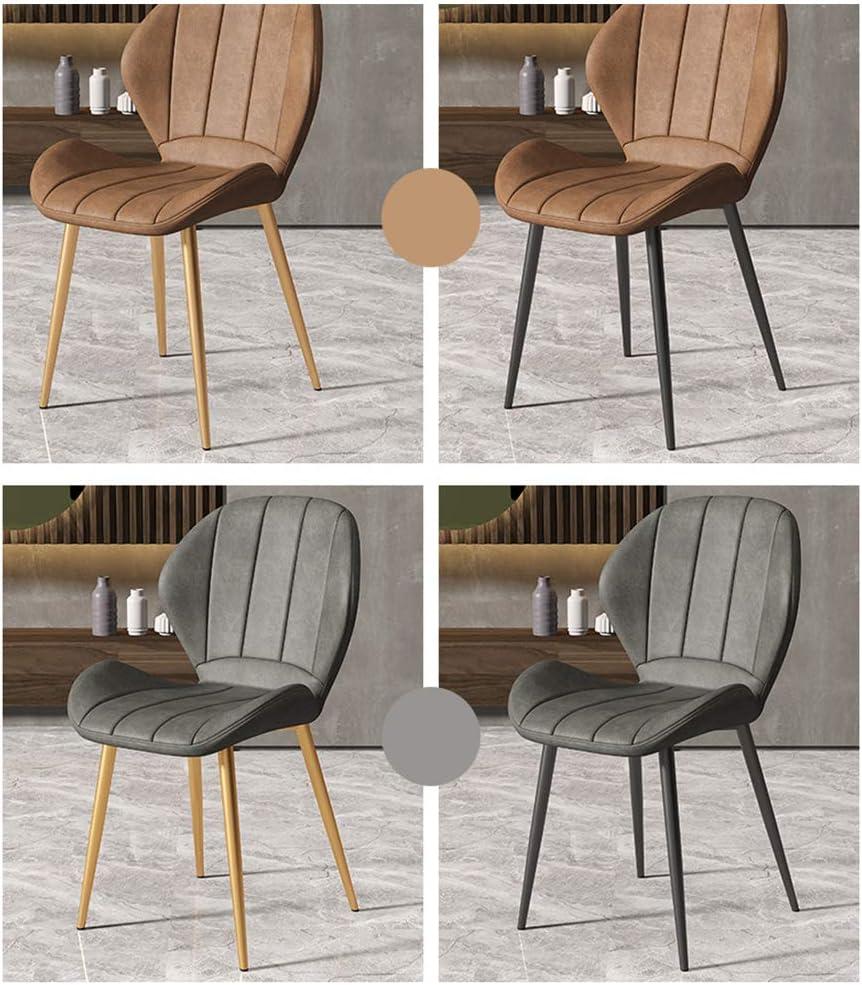 Chaise de Salle à Manger de Style Simple Moderne, Conception du siège 3D, pour Le Corps Humain, Restaurant/café/Bureau/Balcon Brown - Gold Feet