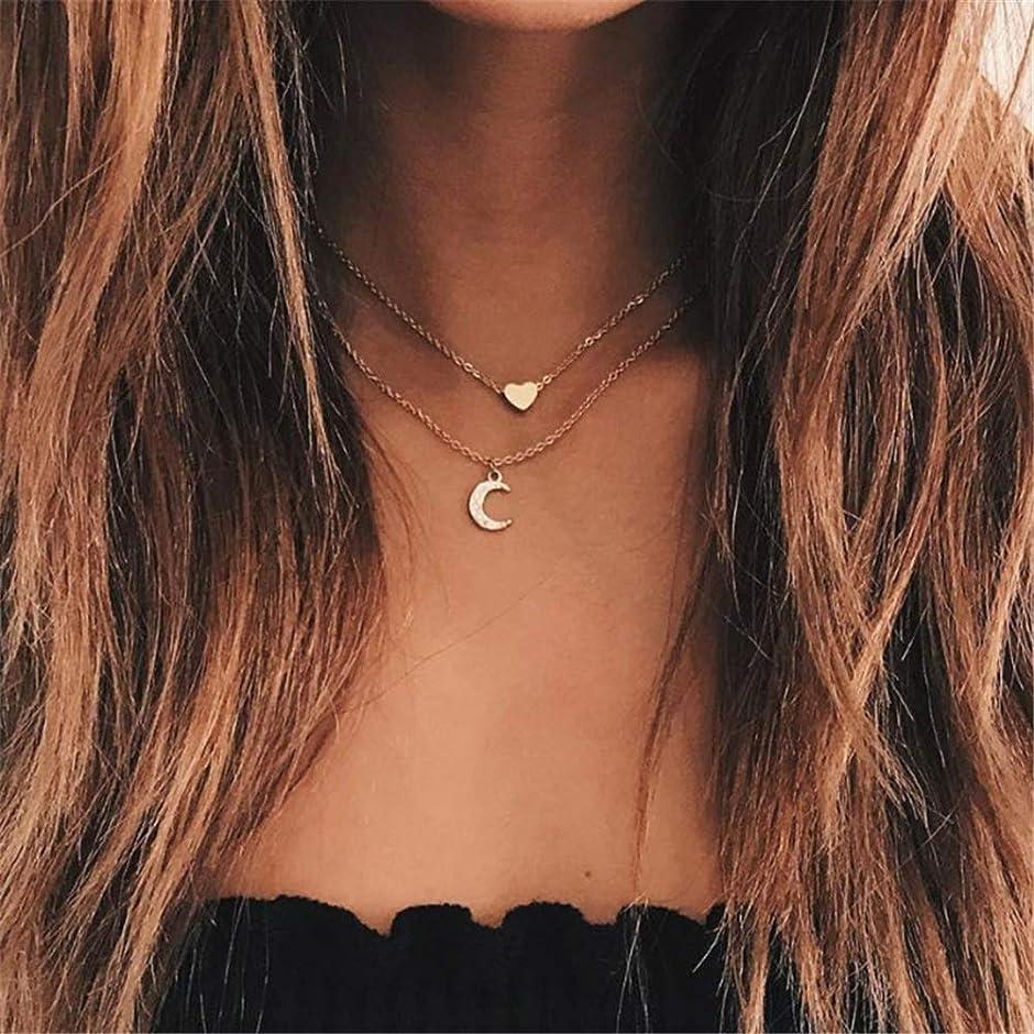 規制する人事ボイコット女性ネックレス 女性のための女性の月の心のペンダントチョーカーネックレス層状チェーンチョーカーウェディングギフト 誕生日 プレゼント