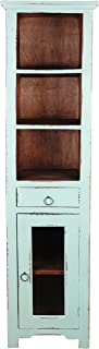 Sunset Trading Shabby Chic Cottage Narrow Cabinet, Teal with raftwood inside