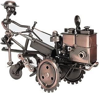 Amperer Collectible Art Sculpture Handmade Metal Motorcycle Tractor Model Creative Office Desktop Accessories Decor The Motorcycle Loves Artwork (B1 Copper)