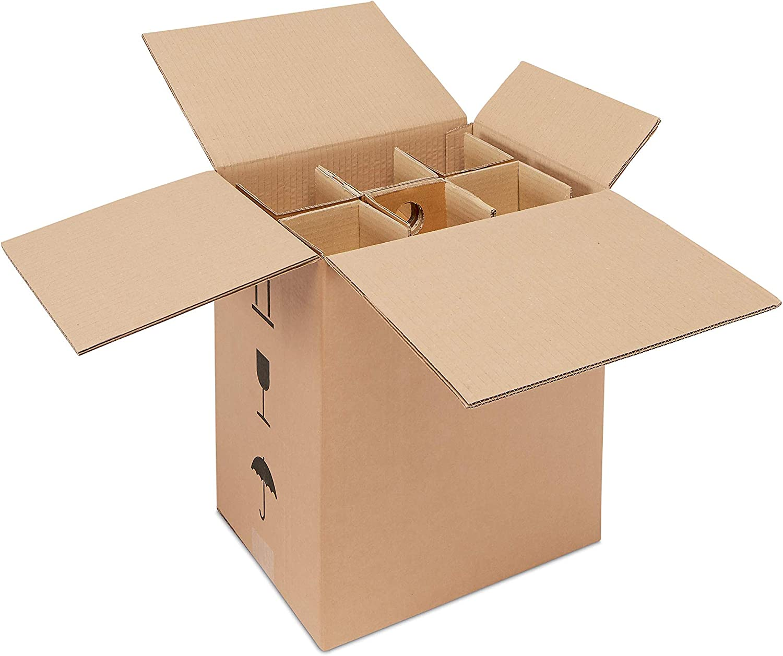 ratioform - Caja de cartón para el envío y embalaje de 6 botellas de vino y espumoso - Medidas 33 x 23,4 x 38 cm