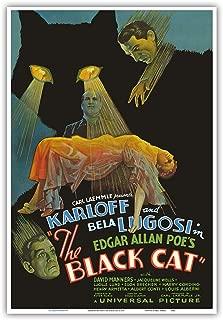 Edgar Allan Poe's The Black Cat - Starring Boris Karloff, Bela Lugosi - Vintage Film Movie Poster c.1934 - Master Art Print - 13in x 19in
