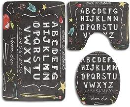 Vintage Back to School Alphabet ABC Antideslizante 3pcs / Set Alfombrillas de baño Set Tapa de pedestalAlfombrilla de baño Piso Inodoro