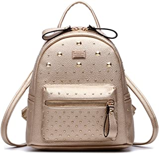 Santwo Womens Mini Rivets Waterproof PU Leather Shoulder Bag Casual Daypack Backpack ...