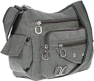 Christian Wippermann Damenhandtasche Schultertasche Tasche Umhängetasche Canvas Shopper Crossover Bag Grau