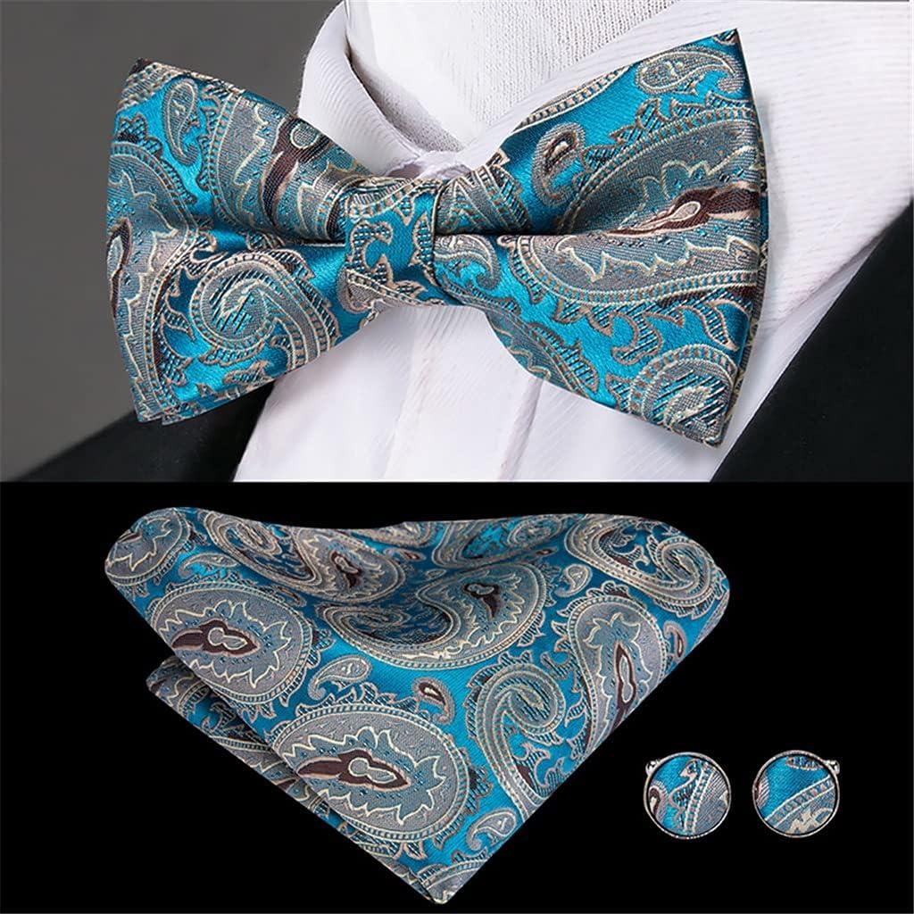 SLATIOM Men's Suspender 6 Clips Braces Men Classic 3.5cm Width Fashion Blue Paisley Suspender and Bowtie Men (Color : A, Size : Adjustable)