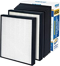 VEVA Premium 2 HEPA Replacement Filter Pack with 6 Activated Carbon Pre Filters to Stop Smoke Odor Dust for Blueair 200/300 Series Models 201, 203, 205, 215B, 250E, 270E, 303 Air Purifiers