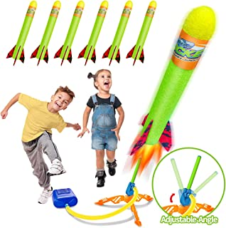 Toy Rocket Launchers for Kids-Outdoor Toys for Boys with 6 Foam Air Jump Rockets-Perfect Sports Games Birthday Gifts for T...