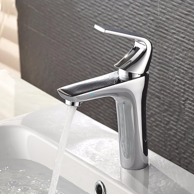 Bijjaladeva Wasserhahn Bad Wasserfall Mischbatterie Waschbecken Waschtisch Armatur Waschbeckenarmatur für BadezimmerKaltwasser Armatur Waschtisch Armatur aus Messing