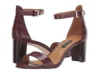 Nine West Pruce Block Heel Sandal (Bordo) High Heels