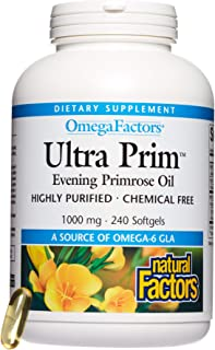 Omega Factors by Natural Factors, Ultra Prim Evening Primrose Oil, Promotes Women's and Immune Health with Omega-6 GLA, 24...