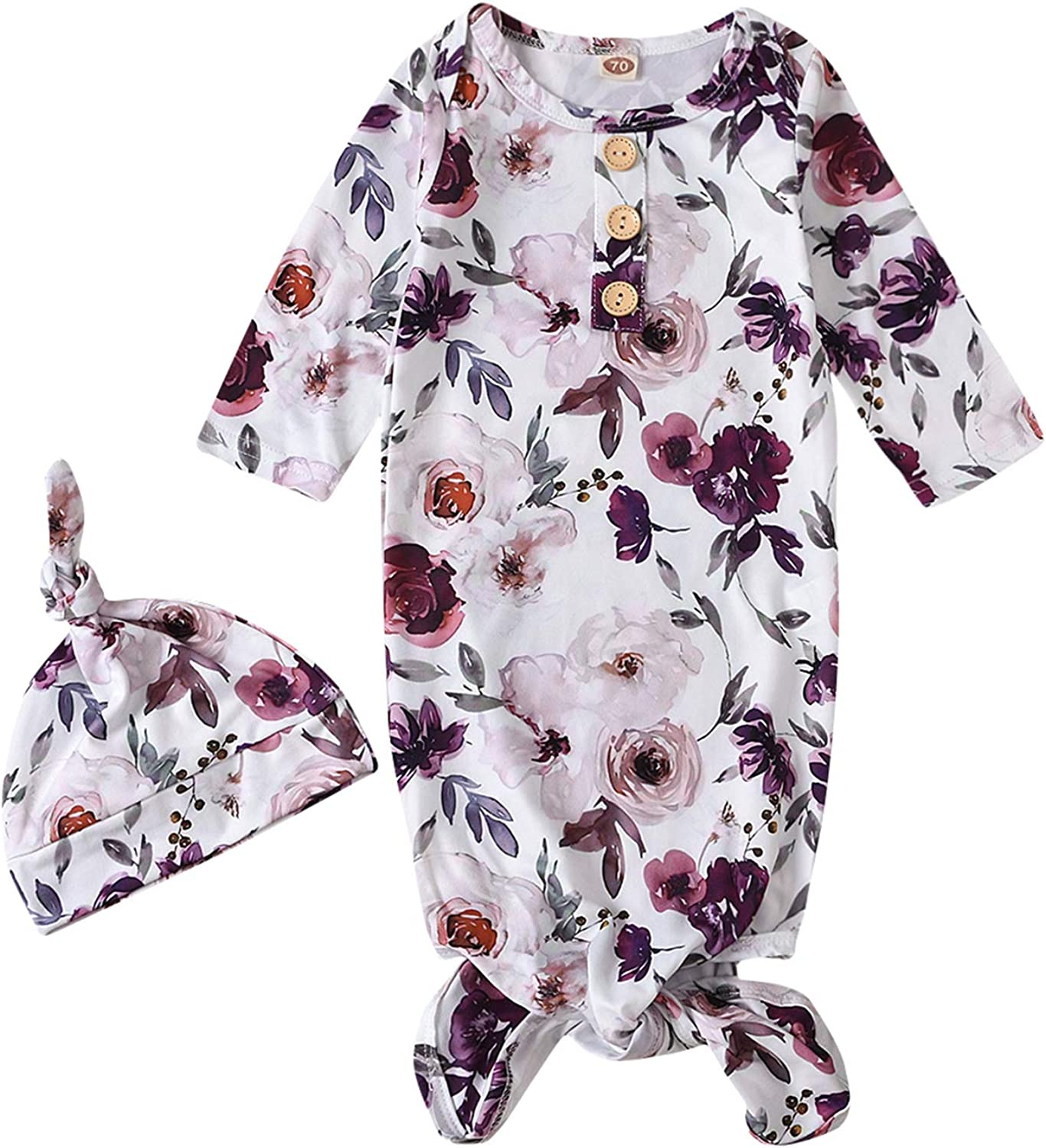 Moru Infant Baby Girls Cotton Sleeper Gowns Organic Cotton Floral Kimono Knotted Gown