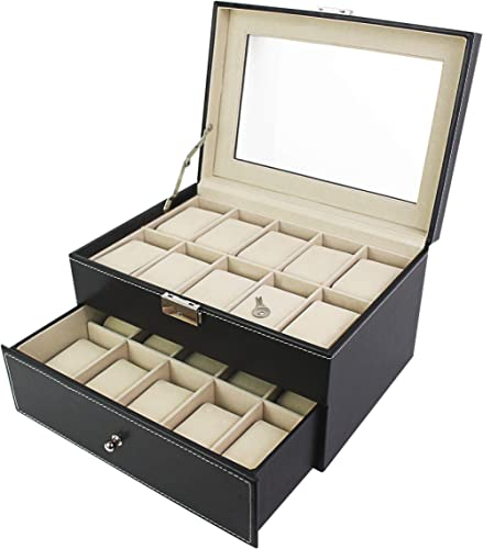 Todeco - Coffret à Montres, Boite pour Montres et Bracelets - Matériau de la boîte: MDF - Matériau du Coussin: Velour...