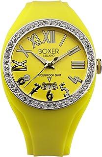 Para hombre caja 40Z amarillo circonitas números romanos amarillo luminoso fecha reloj