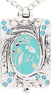 DaisyJewel Deluxe Blue Birdsong Art Nouveau Vintage Locket Love Bird Necklace