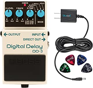 BOSS DD-3 Digital Delay Effects Pedal Bundle with Blucoil Power Supply Slim AC/DC Adapter for 9 Volt DC 670mA and 4 Guitar Picks