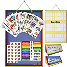 SchKIDules 2-in-1 Home Bundle Visual Schedule: Daily Kids Calendar and Weekly Responsibility Chart All in One; 18