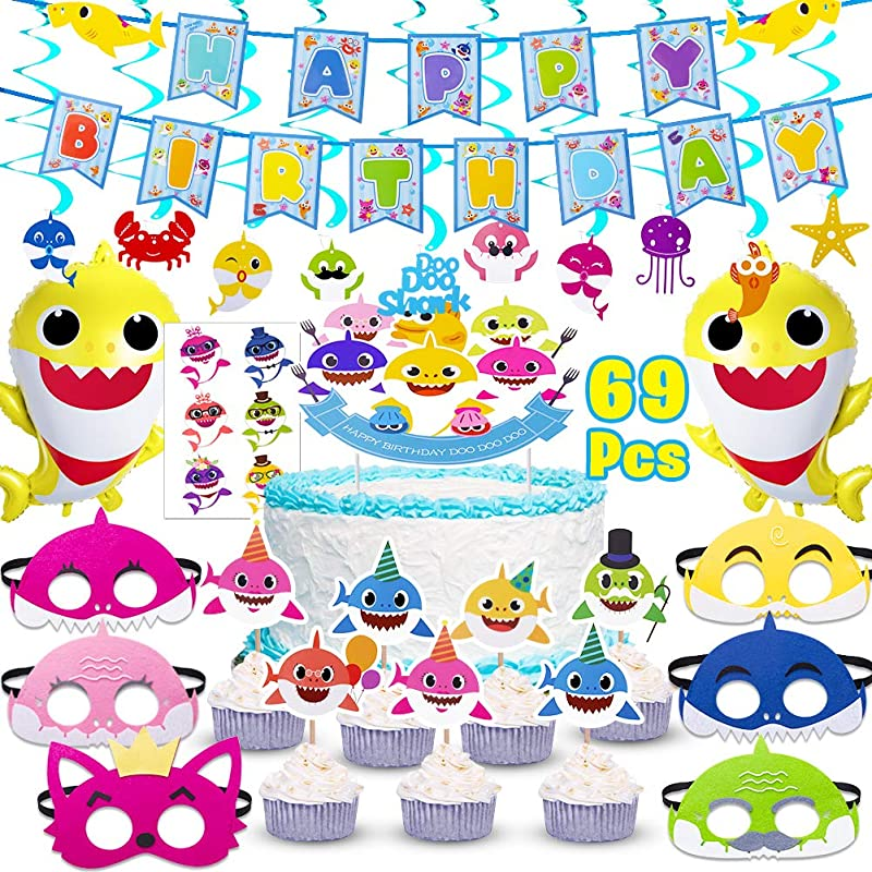 Shark Party Supplies For Baby 69 Pcs Birthday Decorations Includes 1 Big Cake Topper 25 Cupcake Toppers 2 Shark Baby Balloons 1 Happy Birthday Banner 6 Shark Masks 10 Swirl Decorations And 24 Shark Stickers Shark Theme Birthday Party Supplies For Kids