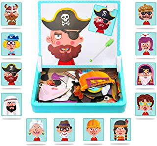 Magnetic Puzzles Face Dress Up Travel Game Double Side Preschool Educational Learning Toy for Kids